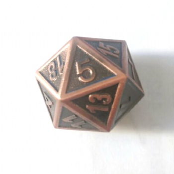 LARGE ANTIQUE COPPER METAL D20 DICE
