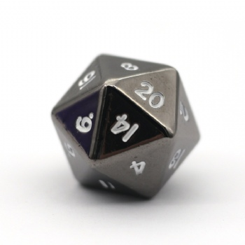 BLACK NICKEL METAL D20 DICE