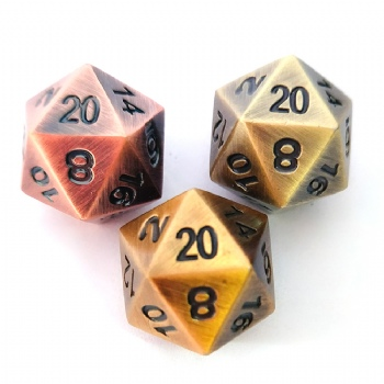 ANTIQUE METAL D20 DICE