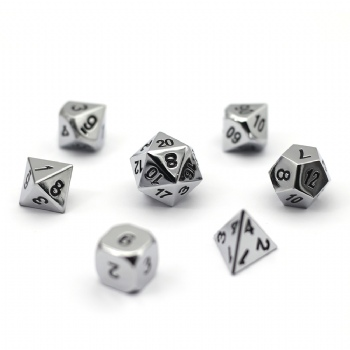 SILVER  METAL DICE SET