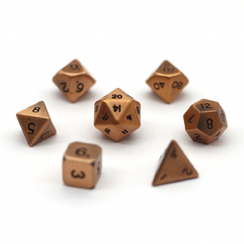 ANTIQUE COPPER METAL DICE SET