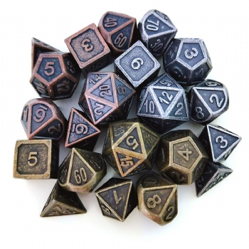 ANTIQUE METAL DICE SET