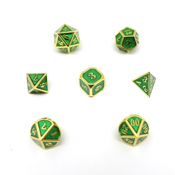 GREEN COLOR METAL DICE SET