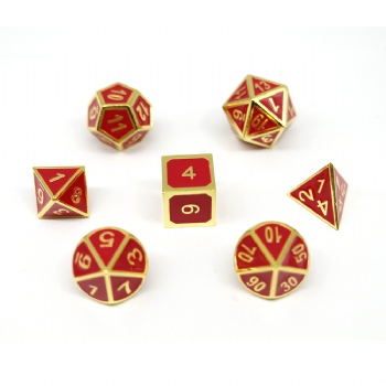 RED COLOR METAL DICE SET