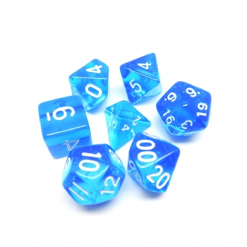 BLUE TRANSPARENT PLASTIC DICE SET