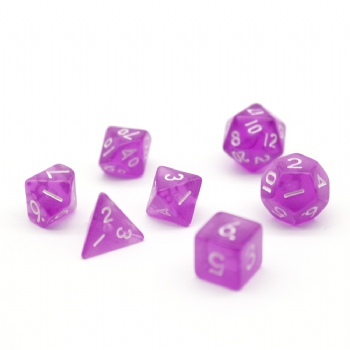 PURPLE TRANSPARENT PLASTIC DICE SET