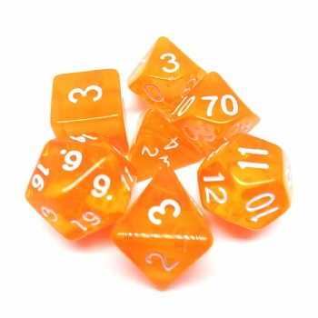ORANGE TRANSPARENT PLASTIC DICE SET