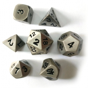 ANTIQUE SILVER METAL DICE SET