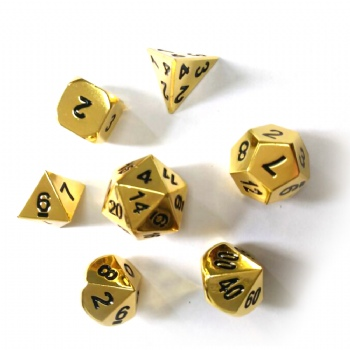 GOLD  METAL DICE SET