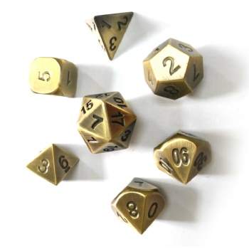 BRASS  METAL DICE SET