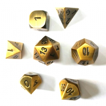 ANTIQUE GOLD METAL DICE SET