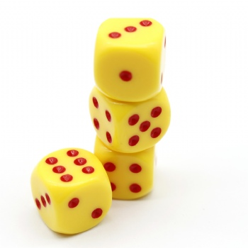 YELLOW  PLASTIC D6 DICE