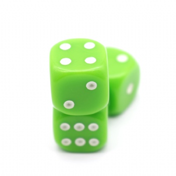 GREEN PLASTIC D6 DICE
