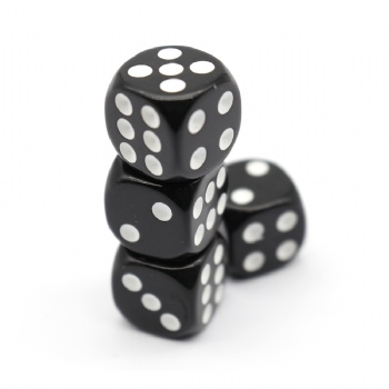 BLACK PLASTIC D6 DICE