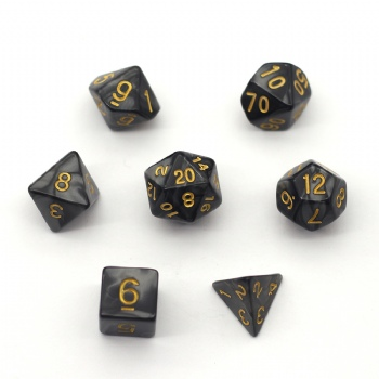 BLACK MARBLE DICE SET