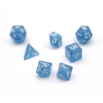 BLUE GLITTER PLASTIC DICE SET