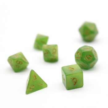 GREEN PLASTIC DICE SET
