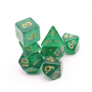 GREEN TRANSPARENT PLASTIC DICE SET