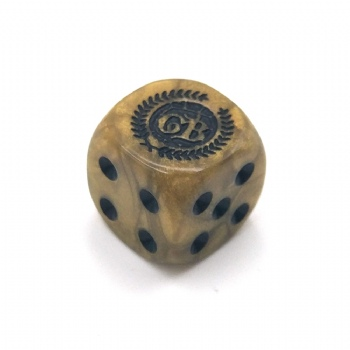 BROWN MARBLE PLASTIC D6 DICE