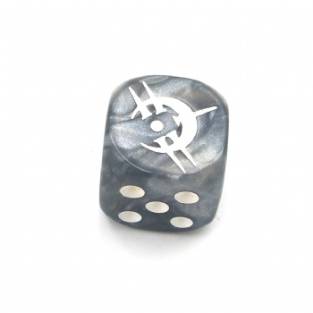 SILVER MARBLE PLASTIC D6 DICE