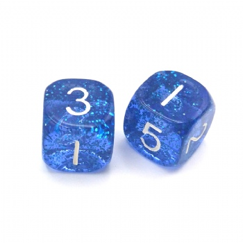 BLUE TRANSPARENT GLITTER PLASTIC D6 DICE