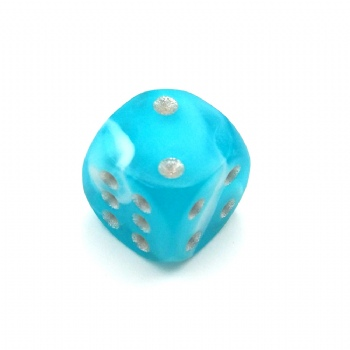 TEAL BLUE MARBLE PLASTIC D6 DICE
