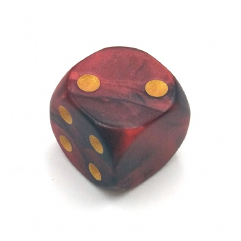 BLACK&RED MARBLE PLASTIC D6 DICE