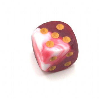 RED&WHITE MARBLE PLASTIC D6 DICE