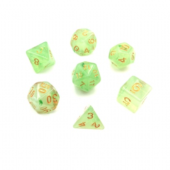 LIGHT GREEN TRANSPARNET DICE SET