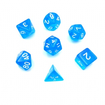 BLUE TRANSLUCENT DICE SET