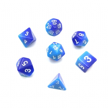 Graduated Blue GEM DICE SET