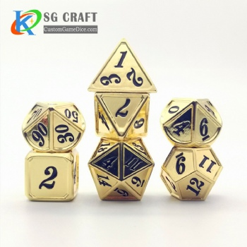 Dice dnd game metal custom dice bag gold black colors recessed numbers