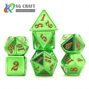 Dice dnd game metal custom dice box bag green red colors recessed numbers