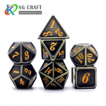 Dice dnd game metal custom dice bag black yellow colors recessed numbers