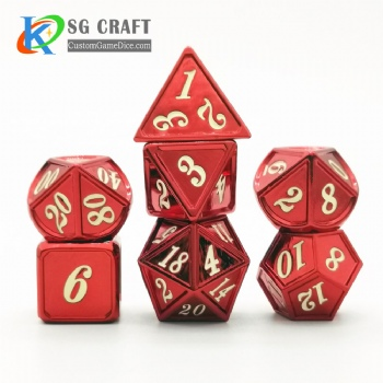 Dice dnd game metal custom dice bag gold red colors recessed numbers