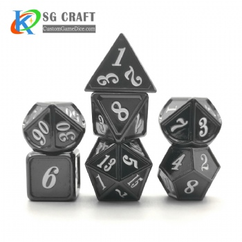 Dice dnd game metal custom dice black white colors recessed numbers