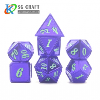 Dice dnd game metal custom dice bag purple green colors recessed numbers
