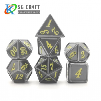Dice dnd game metal dice grey yellow colors recessed numbers