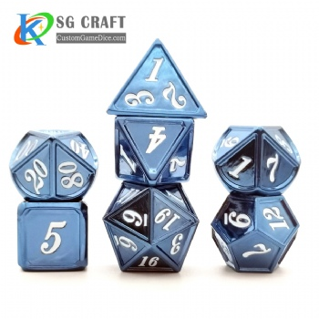 Dice dnd game metal dice blue/white colors recessed numbers