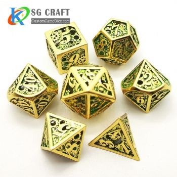 Hollow out machine style dice dnd game metal custom dice gold/green colors