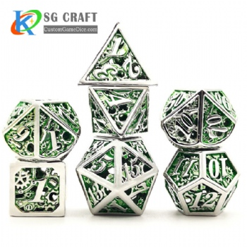 hollow out machine style dice dnd game metal custom dice green color