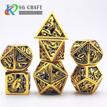 Hollow out machine style dice dnd game metal dice gold color