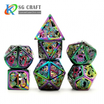 Hollow out skull style rainbow plating dnd game metal dice red numbers