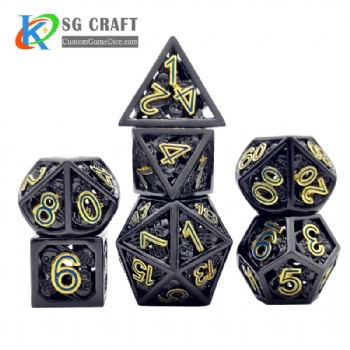 Hollow out skull style dice dnd game metal dice
