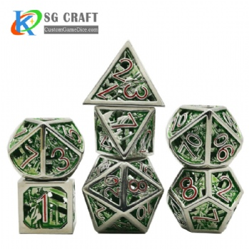 Hollow out Statue of Liberty style Dnd Game Metal Dice Red/Green Colors