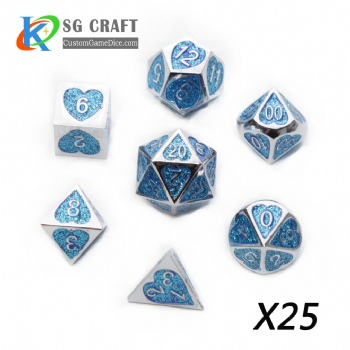 Heart Metal Dice dnd game metal custom dice blue glitter