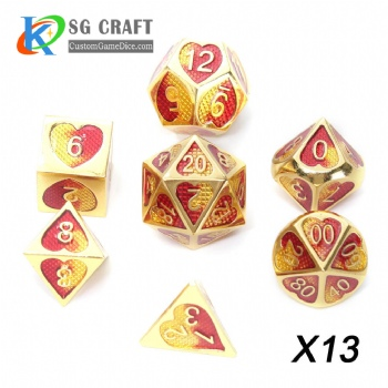 Heart Metal Dice dnd game metal custom dice gold/red/yellow