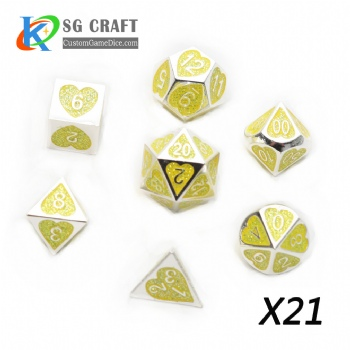 Heart Metal Dice dnd game metal custom dice yellow glitter