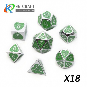 Heart Metal Dice dnd game metal custom dice green glitter