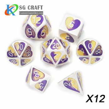Heart Metal Dice dnd game metal custom dice purple/yellow colors